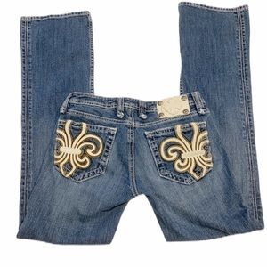 Miss Me Rare Vintage Jeans Leather Fleur de Lis 28